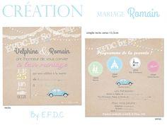 création faire part mariage original et sur mesure, couleur pastel, voiture coccinelle VW bleu, texte à personnaliser, scrap digital, recto/verso 13,5cm, dentelle blanche, ampoules et guirlandes colorées