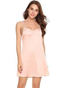 Womens Sexy Sleeveless Pajamas Lace Patchwork Satin Nightgown Sleepwear  S-XXL - Champagne - CZ1857CO2QD 74c435c6e