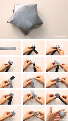 Cómo-hacer-estrellas-con-tira-de-papel-paper-star-how-to