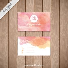 Pink watercolor corporative card Free Vector