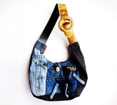 Handmade glamorous jeans patchwork shoulder bag / recycled denim / school / every day / shopping / tote sack