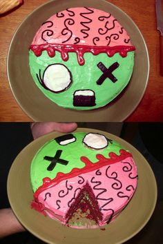 Zombie cake, complete with brain. I WANT THIS FOR MY 14th bday dad!!! Or a cake that looks like bacon. OR A CAKR THAT LOOKS LIKE A ZEBRA!!!! Zebra or zombie cake!