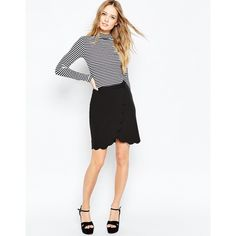 ASOS Wrap Pencil Skirt with Scallop Detail ($36) ❤ liked on Polyvore featuring skirts, black, scallop hem skirt, scalloped skirt, wrap front skirt, zipper pencil skirt and scalloped pencil skirt