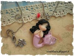Pink princess mermaid doll necklace Polymer clay