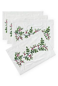 Holly Embroidered Christmas Placemats (Set of 4) from Lands' End