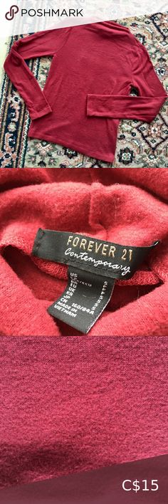 🔥BOGO CONTEMPORARY F21 Soft Red High Neck Sweater So soft and cozy!!! Gorgeous coral red extra soft sweater top from the contemporary line of forever 21. Like new condition. Such cute details with a high neck and seam down the back. Size small! From a pet and smoke free home 😊 Forever 21 Sweaters Forever 21 Cardigans, Forever 21 Sweater, Cable Knit Sweaters, Blue Sweaters, Red High, Forever 21 Red, F21, Cropped Hoodie, Long Sleeve Sweater