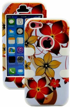 Amazon.com: myLife (TM) White + Colorful Tropical Waves 3 Layer (Hybrid Flex Gel) Grip Case for New Apple iPhone 5C Touch Phone (External 2 ...