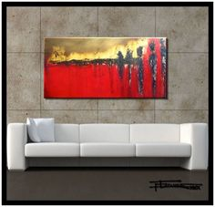 """LARGE MODERN CANVAS WALL ART - """"WAITING"""" Limited Edition, Hand Embellished, Giclee on canvas, Textured Abstract Painting 4... $165.00"""