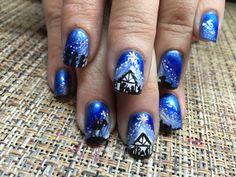 Nativity scene . Christmas Gel Nails, Holiday Nail Art, Christmas Nail Designs, Holiday Themes, Cute Nails, Pretty Nails, Nail Art Images, Christmas Nativity Scene, Blue Nail