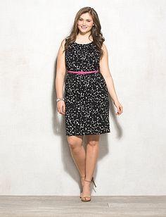 JONES STUDIO® Plus Size Textured Abstract Belted Dress