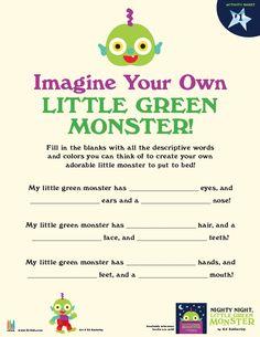Imagine your own Little Green Monster! [Nighty Night, Little Green Monster by Ed Emberley]