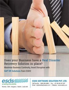 """Companies that can't resume normal operations within 10 days after a disaster, are unlikely to revive nor survive due to loss of data."" Does your Business have a Real #DisasterRecovery & #BusinessContinuity Plan (#BCP) in place? Get a solution today, visit: https://www.esds.co.in/disaster-recovery-hosting.php"