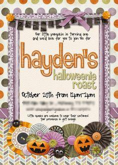 Slightly Askew Designs - Halloween Birthday Party Invitation
