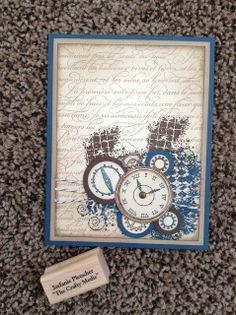 The Crafty Medic: Clockworks birthday - front - Stampin' Up! Clockworks and En Francais stamp sets