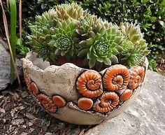 Schale Pflanzschale Keramik Frostfest Unikat Handarbeit töpfern Orange in Garten & Terrasse, Dekoration, Sonstige   eBay!
