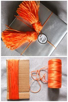 Orange is our favorite color, but that's not the only reason why we love this creative Christmas gift-wrap idea. Learn how to make a tassel in 6 easy steps here.