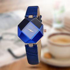 Luxury For Women Watch Gem Cut Geometry #Crystal Leather Quartz Wrist Watch #Fashionable Dress# Ladies Watch Watches Relogio feminino