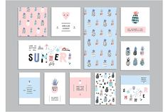 Ad: Pineapples Pack by Lera Efremova on Pineapples! Fresh sweet pack with different cards, posters, headers, seamless patterns. Packaging Design, Branding Design, Logo Design, Layout Design, Kids Branding, Branding Agency, Restaurant Branding, Postcard Design, Name Cards