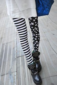 Stripe And Stars Printing Leggings - OASAP.com