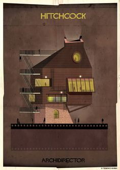 Artist Federico Babina imagines what famous film directors would look like as houses