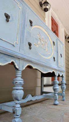 Items similar to Stunning Vintage Shabby Chic Handpainted French Blue Buffet sideboard on Etsy Chalk Paint Furniture, Hand Painted Furniture, Distressed Furniture, Furniture Projects, Furniture Makeover, Vintage Furniture, Diy Furniture, French Decor, French Country Decorating