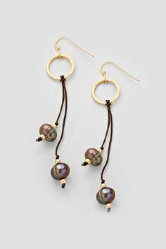 Blue Pearl Kelly Earrings on Emma Stine Limited