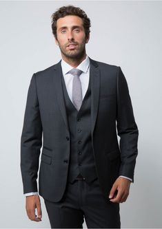 Costume slim gris en laine. Costume slim gris en laine 23 anthracite -  costume homme - father and sons 1 0740954bdad1