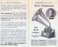 The Talking Machine Company 1899 catalog describing the Polyphone attachment. Was reading Heart of Darkness which was released in 1899