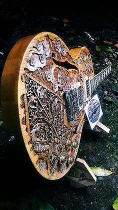 Indonesian carved guitars