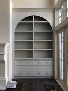 Living Room End Table Decor arched Built-ins. drawers and shelving. grey built ins. living room storage By studio mcgee Built In Shelves Living Room, Bookshelves Built In, Living Room Storage, My Living Room, Living Room Decor, Small Living, Bookcases, Dining Room, Modern Living