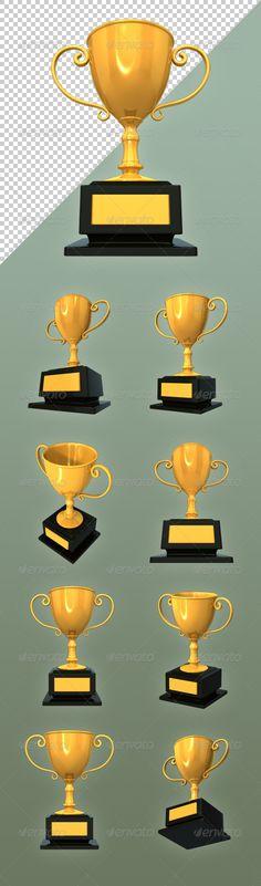 Golden Trophy by lgtaegi Golden TrophyFeatures:High quality image of 3d golden trophy. 9 different camera angles Transparent .png files 81928192 pixels Gra
