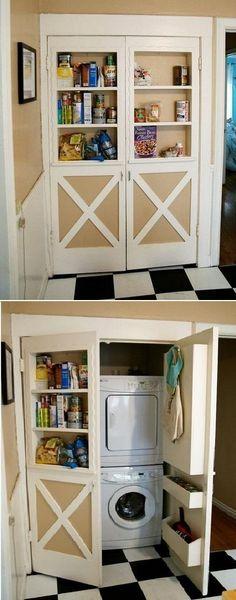 Clever Laundry Room Storage Solution for an Apartment…such a great idea!
