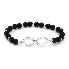 Beautiful black beaded infinity bracelet! Personalize in minutes by adding two custom birthstones.