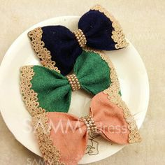$3.58 Sweet Lace Jacquard and Beads Embellished Woolen Bowknot Hair Clip For Women