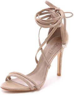 Schutz Lola Suede Ankle Wrap Sandals - $180.00