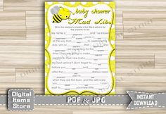 Baby Shower Mad Libs Game Bumble Yellow - Printable Baby Shower Advice Mad Libs Game Quiz Bee Yellow Boy or Girl - Instant Download - bee1 by DigitalitemsShop on Etsy