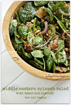 Middle Eastern Spinach Salad with Dates and Almonds by Healthy Girl's Kitchen