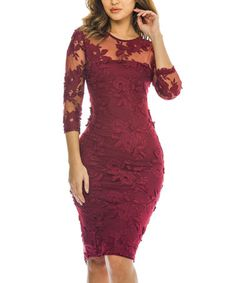 This Wine Lace-Accent Bodycon Dress is perfect! #zulilyfinds