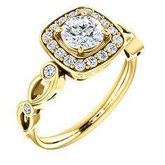 14K Yellow Round Engagement Ring | POPPY 122268