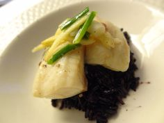 Steamed Tilapia with ginger and scallions, served over black Japonica rice.