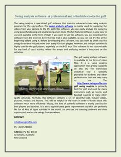 Swing analysis software- A professional and affordable choice for golf Golf Swing Analyzer, Software Products, Best Sites, Profile, Check, User Profile
