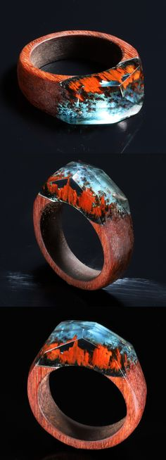 secret of wood ring unique ring bohemian style Wood resin ring Resin wood ring nature inspired ring Wood and resin Red Rock ring