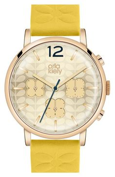 Orla Kiely 'Frankie' Chronograph Leather Strap Watch, 38mm available at…
