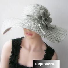 Women Gray Wide Brim Floppy Summer Straw Church Dress Hats for Sale SKU-158099