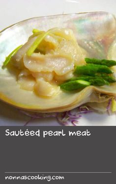 Sautéed pearl meat | This dish is a favourite for diners at Flower Drum. Anthony has taken a native Australian ingredient and used Cantonese cooking styles and flavours to create a dish with a delicate flavour that presents beautifully. Traditionally, Cantonese cook many molluscs such as abalone and conch in this way and Anthony found that this method matches the pearl meat perfectly. The pearl meat is from Broome, WA and is thinly sliced, then stir-fried with spring onion and garlic chives…