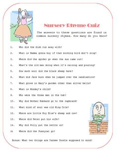 baby shower nursery rhyme | Nursery Rhyme Quiz- Heather's Baby Shower? | Ericka