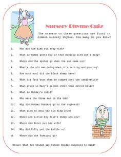 baby shower nursery rhyme   Nursery Rhyme Quiz- Heather's Baby Shower?   Ericka