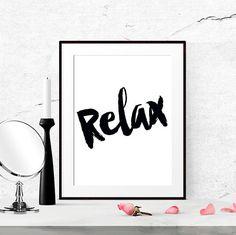 Relax sign Bathroom Art Print Bedroom wall art by LUCIAandLUCIANA