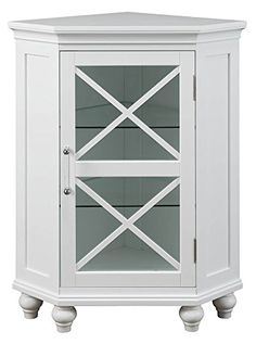 Elegant Home Fashions Blue Ridge W x H x D White MDF Freestanding Linen Cabinet at Lowe's. This corner floor cabinet fits neatly in the corner of your room. The two adjustable glass shelves help maximize storage for your needs. The door of this Bathroom Floor Cabinets, Wood Cabinets, Bathroom Flooring, Bathroom Furniture, Bathroom Shelves, Bathroom Ideas, Bathroom Organization, Accent Cabinets, Linen Cabinets