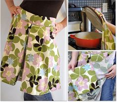 Pleated apron w/built-in hot pads - free pattern/tutorial plus lots of hot pad and oven mitt tutorials